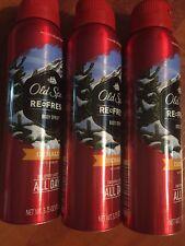 3 Old Spice Refresh Fresher Collection DENALI Spruce Body Spray 3.75 oz