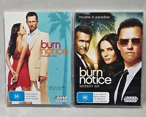 2x bundle BURN NOTICE season 1 & 6 TV CIA crime drama 8 discs dvds PAL M reg 4