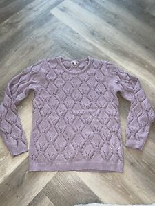 La Redoute Lilac Pointelle Round Neck Jumper Size 10/12 Soft Sweater