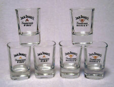 JACK DANIELS Tennessee Fire Honey 2 oz Shot Glasses Lot (6) New