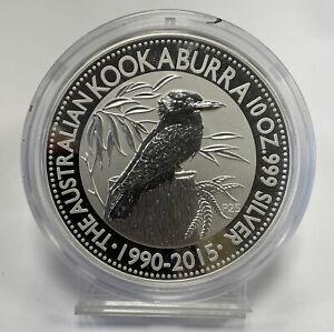 1990 - 2015 Australian Kookaburra 25th Anniversary 10 oz Silver Coin in capsule