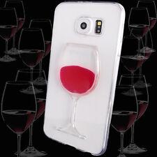 Estuche 3D Vaso De Vino Rojo Para  Samsung Galaxy S6 EDGE Funda Protector