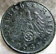 1941A Germany - THIRD REICH - 5 Reichspfennig, Zinc, Swastika Coin, VF ~ KM# 90