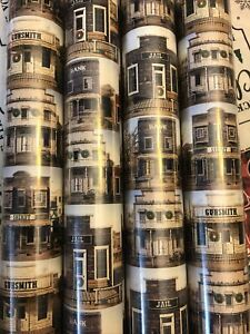 Gift wrap Western Town Jail Bank Gunsmith Hotel Sheriff wrapping paper Christmas