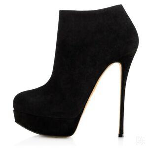 Women's New Suede Platform Side Zipper Super High Heel Platform Ankle Boots