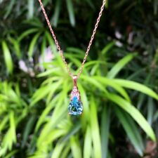 Turkish Drop Turquoise Topaz Necklace Silver 925 Rose-White-Turquoise CZ & Chain