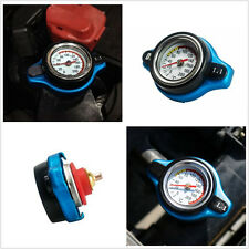 Universal Blue Thermost Radiator Cap+Water Temp gauge 1.1 Bar Cover Small Head