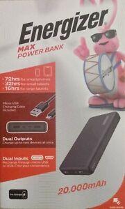 Energizer Max 20000 mAh Power Bank Dual Outputs Dual Inputs UE20044_BK OPEN BOX
