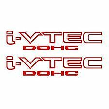 "(2) RED    I-Vtec DOHC 9"" Vinyl Sticker Honda Acura Decal"
