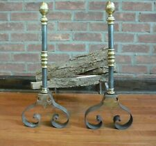 Mid Century Modern Steel, Brass and Forged Andirons