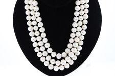 Plata de Ley 10.7 To 11.5mm Blanco Forma Anillo Perla Triple Hilos 40.6cm Collar