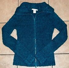 H&M~Wool Blend TEAL Blue SWEATER~size 4~NEW~Full Zip TURQUOISE Top~NWOT