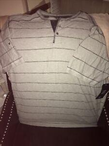 Modern Culture T-Shirt Mens 3 XL Gray / Blue Short Sleeve Striped Tee