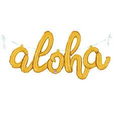 """45"""" Gold Aloha Balloon Foil, Luau Party, Tropical Party, Hawaiian Party Balloon"""
