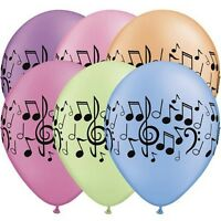 Party Supplies 50's Decorations Birthday  Music Notes Neon Balloons Pk 10