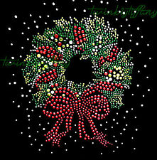"Christmas Rhinestone Iron on Transfer Hot Fix Bling ""Beautiful Christmas Wreath"""