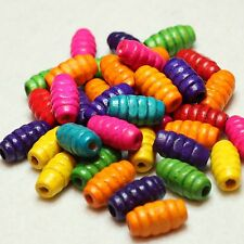 40 WOODEN OVAL/BARREL SHAPED CRAFT BEADS MULTI COLOURED 15 x 8 mm (BBA152)