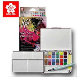 SAKURA® KOI WATERCOLOUR SKETCH BOX 24 Paint Set - CREATIVE ART COLOURS FREE P&P