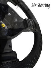 FOR SKODA OCTAVIA 2 REAL BLACK PERFORATED LEATHER STEERING WHEEL COVER