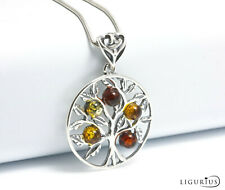 NATURAL BALTIC AMBER STERLING SILVER 925 PENDANT Tree of Life NECKLACE Certified