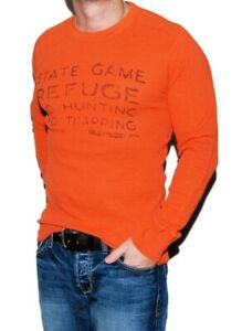 $225 Ralph Lauren RRL Mens Waffle Thermal Hunting Sweater Sweatshirt Orange XS