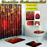 4pc Christmas Serie Printing Bathroom Shower Curtain Toilet Waterproof Cover Mat