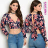New Womens Floral Print Summer Crop Top Casual Party Clothes Size 8 10 12 S M L