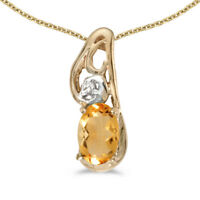 """14k Yellow Gold Oval Citrine And Diamond Pendant with 18"""" Chain"""