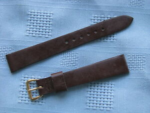 Vintage Elgin 16mm Smooth Brown Genuine Leather 2-Piece Watch Band, Unused