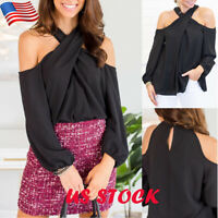 Women's Chiffon Cold Shoulder Tops T-shirt Halter Neck Long Sleeve Casual Blouse