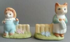 2 Miniature Vintage F. W. & Co. Schmid Cat figurines on a fence 1990