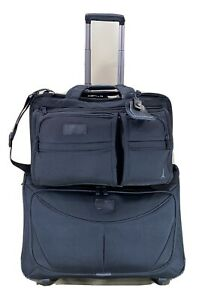 """TravelPro Black Carry on Set 17"""" Briefcase & 22"""" Wheeled Rolling Garment Bag"""