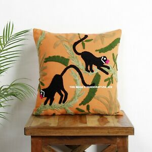 "16"" Cotton Cushion Cover Wool Hand Monkey Embroidery Suzani Boho Decor Pillow"