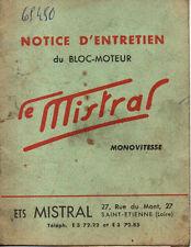 Notice et entretien du moteur  LE MISTRAL mobylette