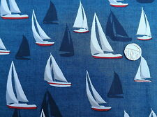 Seaside Sea View sail boats on blue fabric fq 50x56 cm Makower MK1636 100%Cotton