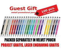 100 pcs engraved Wedding Pens Favours Personalised Birthday Gift, velevet pouch