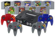 Nintendo 64 / N64 Konsole + 1 2 3 4 Controller, Strom, Kabel & Spiele-Klassiker