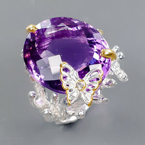 21x19 mm. 34 ct+ Amethyst Ring Silver 925 Sterling  Size 8.5 /R178193