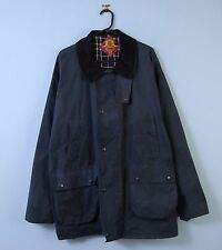 Vintage Wachs Jacke Dunkelblau Cord Kragen Royal Spencer Made in England X-Large