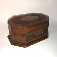 Vintage Hand Carved Wooden Jewelry Box w/ Key Red liner B+ Condition See pics!