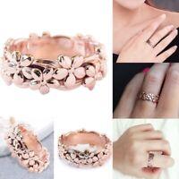 Elegant Lady Fashion Jewelry Flower 14K Rose Gold Plated Wedding Engagemen NSH