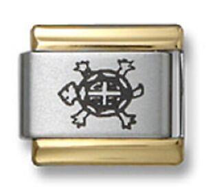 Italian Charm Bracelet Link Laser Sea Turtle 9mm Gold Trim Stainless Steel