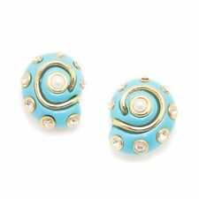 Clip On Earrings Pearl Center & Rhinestones 22k Gold Overlay Turquoise Shell