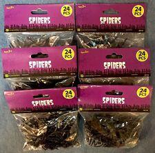 6 bags of fake black spiders - party favor, HALLOWEEN - 144 total spiders NIP