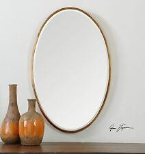 Thin Frame Gold Oval Wall Mirror | Classic Contemporary Vanity