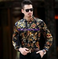 floral Mens Shirt Floral Shirts Blouse Casual Dress Mulberry Silk Long Sleeve