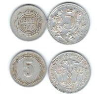 lot de 2 pieces de 5 centimes 1916/1974 Algerie ( 002 )