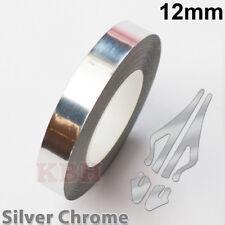 "12mm Self Adhesive Coachline Pin Stripe Vinyl Tape Sticker 1/2"" CHROME SILVER"