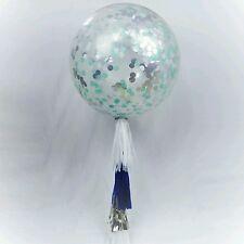 Confetti Balloon giant white silver navy mint round giant jumbo tassel tail 90cm