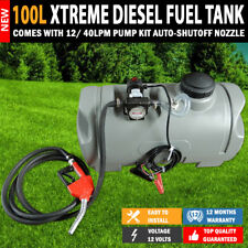 NEW XTREME 100L Diesel Fuel Tank With 12/40lpm Pump Kit Auto Shut Off Nozzle
